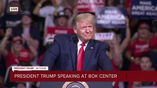 President Trump arrives at BOK Center in Tulsa for rally