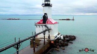 Lake Michigan lighthouse winter tour drone footage