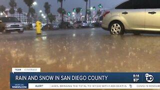 Rain, snow and winds across San Diego County