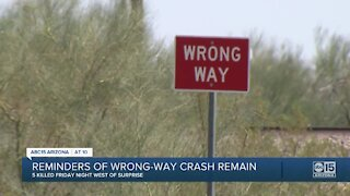 Reminders of wrong-way crash remain after 5 were people killed Friday night