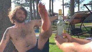 Young man nails bottle cap challenge!
