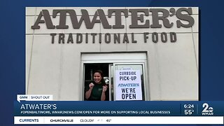 """Atwater's says """"We're Open Baltimore!"""""""