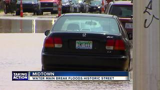 Water main break floods historic street in Midtown