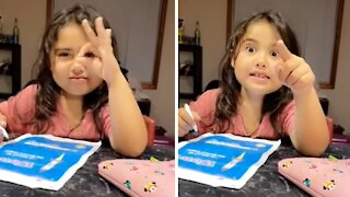 Little girl hilariously calls out dad's lie on camera