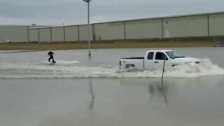 Floods? Get a pickup truck and go wakeboarding!