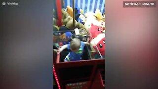 Bebê invade máquina de pegar bichinhos