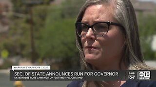 Secretary of State Katie Hobbs announces run for Governor