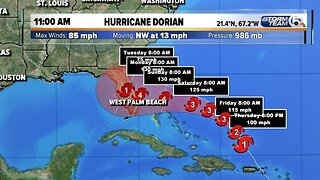11 A.M. UPDATE: Dorian forecast to become a Category 4 hurricane