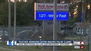 Teacher arrested for false report about law enforcement impersonators