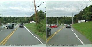 Dashcam catches reckless driver crash into bollard
