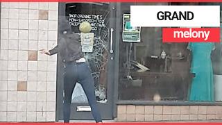 Woman caught smashing her way into shop using melon