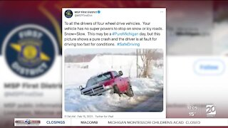 Michigan State Police warn Michiganders to only travel if necessary during winter storm