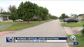 Woman in critical condition after shooting near Lake Worth