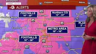 Bands of heavy snow possible Sunday morning