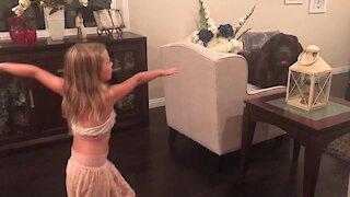 Giant Newfoundland out-dances little girl