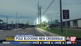 Neighbors concerned about pole blocking crosswalk on ALT-19