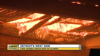 Two homes engulfed in flames on Detroit's west side