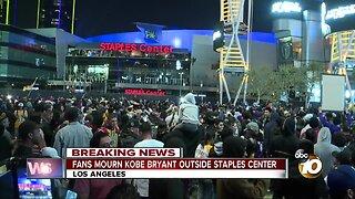 Fans mourn Kobe Bryant outside Staples Center