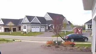 Elderly driver crashes into neighbor's streetlight