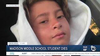 Madison Middle School student dies