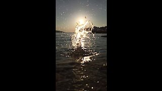 Amazing Slow Motion Water Drops In The Sea