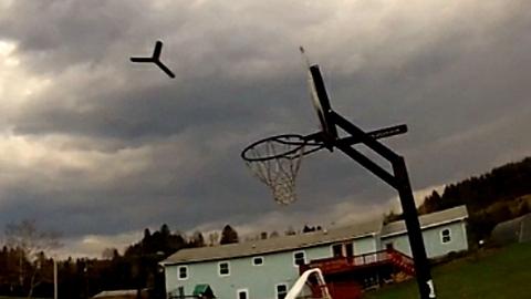 World record boomerang throw into basketball hoop