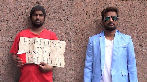 Social experiment: Homeless man vs. rich man asking for money