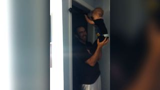 Buff Baby Shows Off With Pull Ups
