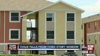 Child hurt after falling from 3rd story window