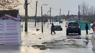 Coastal town in England suffers from aftermath of Storm Ciara