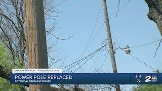 Power pole replaced in north Tulsa neighborhood