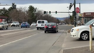 Drivers cutting past the right turn-only lane on Evans across Colorado Blvd