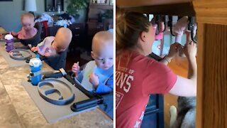 Mom finds clever way to put shoes on her triplets