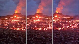 Volcanic eruption at Fagradalsfjall beautifully captured on camera