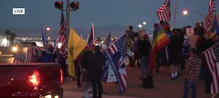 Demonstrators gather in support of Trump at Clark County Election Department