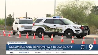 Single-vehicle crash involving motorcycle delays traffic on Benson Highway