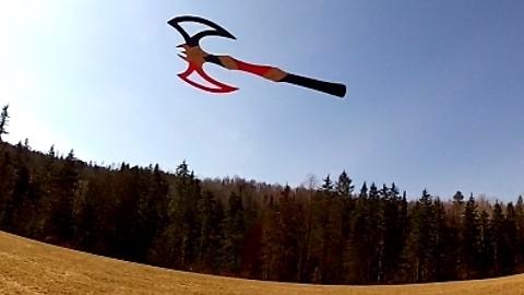 Battleaxe boomerang flies and return to owner