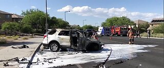 LVFR: Person pulled from SUV after fiery crash in Summerlin area