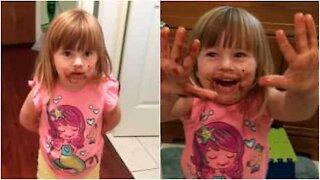 Bimba nega l'evidenza... con il viso ricoperto di cioccolato!