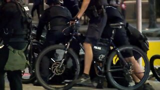 Tampa police officers arrest a protester near Curtis Hixon Park