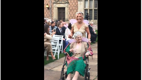 Grandma is flower girl for bride's wedding
