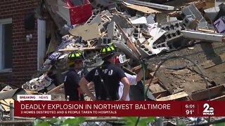 Officials investigates an explosion in Northwest Baltimore