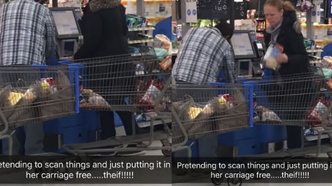 Crazy Lady Blatantly Steals Items In Self-Checkout At Walmart