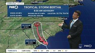 Tropical Storm Bertha forms off the South Carolina Coast