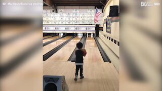 Lad pulls off incredible strike at bowling alley