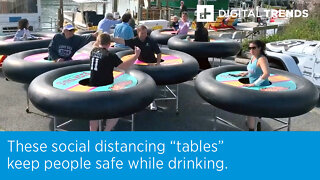 """These social distancing """"tables"""" keep people safe while drinking."""