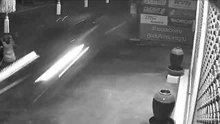 Street sweeper's shocking near miss