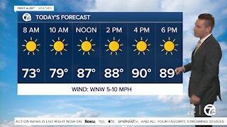 Metro Detroit Forecast: Highs around 90° today