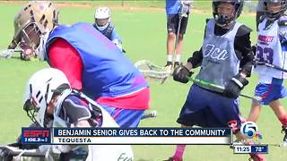 Benjamin lacrosse player holds youth camp