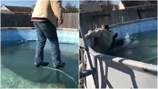 Man tests the ice in his pool - with hilarious results